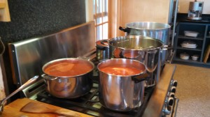 Two Canners and Three Pans of Tomatoes