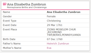 Ana Elisabetha Zumbrun birth record