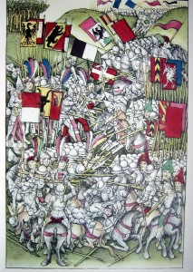 The Battle of Laupen, as drawn by Diebold Schilling, the author of the illustrated Chronicle of Bern in 1480.
