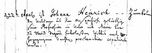 Johann Heinrich Zumbrunn wedding