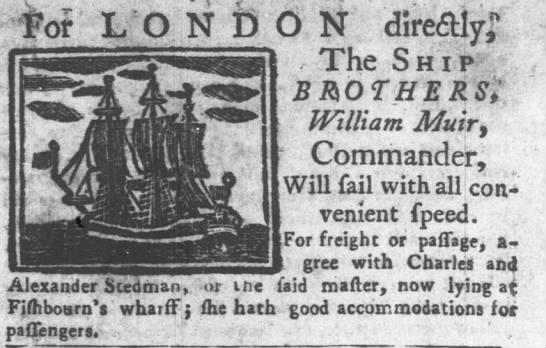 A drawing of the Ship Brothers was published in the Pennsylvania Gazette newspaper on 9 Jan 1750