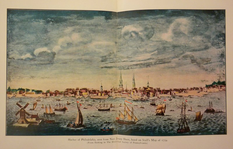 """Harbor of Philadelphia, seen from New Jersey Shore, based on Scull's Map of 1754"" (From etching in the Historical Society of Pennsylvania)"