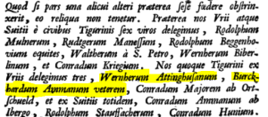 Werner of Attinghausen and Burckhard, listed as delegates to a 1251 alliance between the Canton of Uri and the city of Zurich