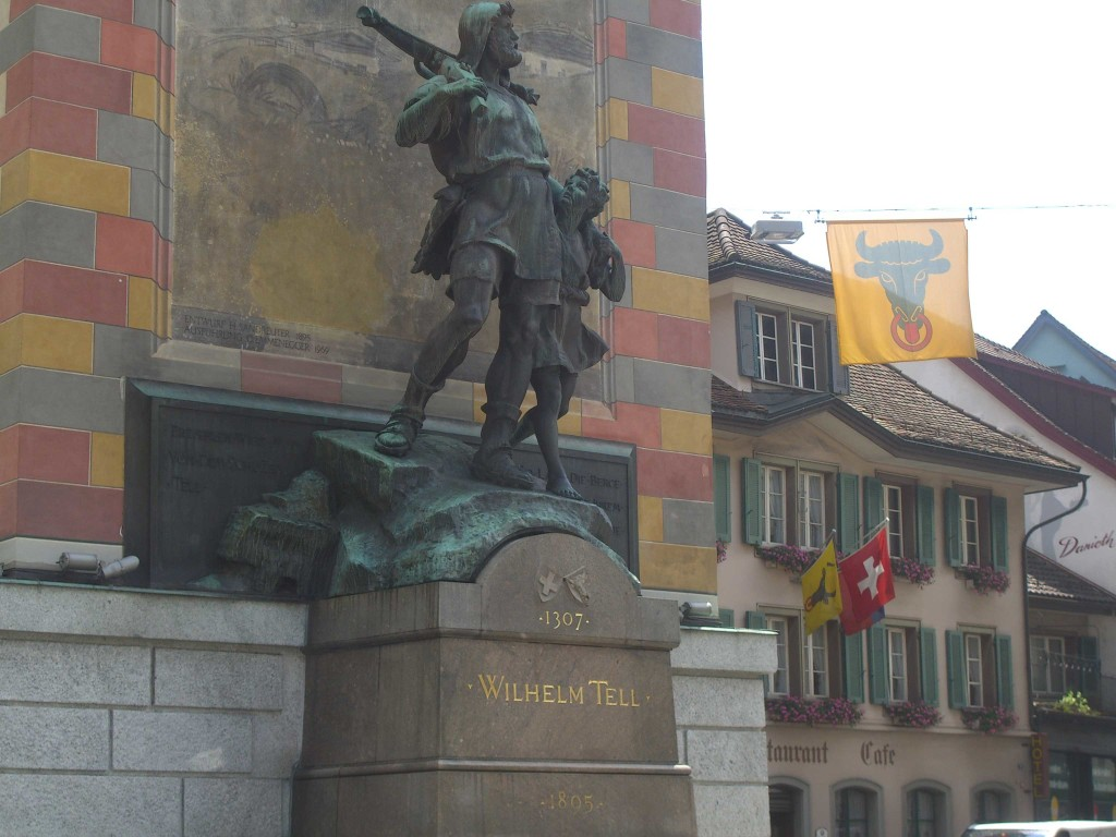 The town center of Altdorf includes this famous sculpture of William Tell