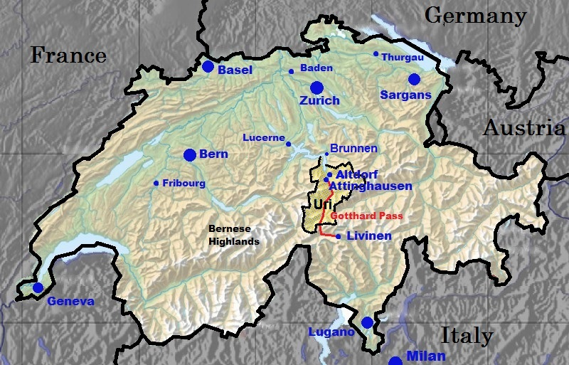 A map of the locations of significance to the Zumbrunnen family in Switzerland