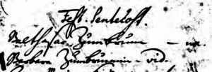 Balthasar and Barbara appear to have been in the front row for attendance at Pentecost in 1726. Note her name appears to be written as Zumbrunnenin and she's identified as a widow.